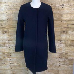 J.Crew Navy Double Cloth Long Pea Coat size 6